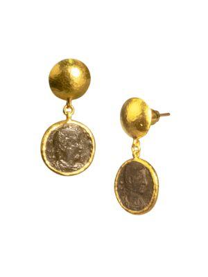 Antiquities 18K & 24K Yellow Gold Roman Coin Drop Earrings