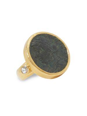 Antiquities 24K Yellow Gold, Roman Coin & Diamond Ring