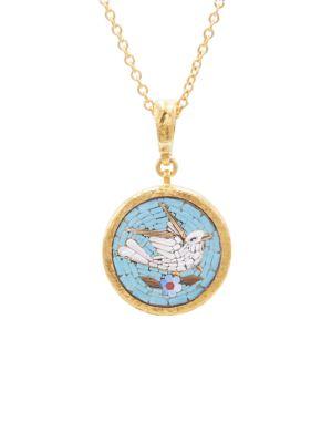 Antiquities 18K, 22K & 24K Yellow Mosaic Bird Pendant Necklace