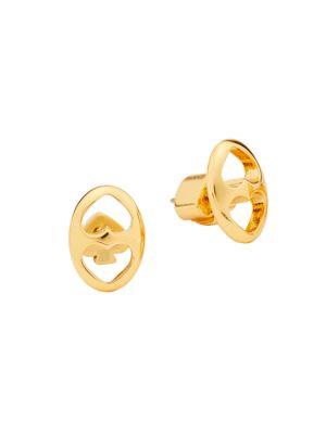 Goldplated Duo Heart Link Stud Earrings