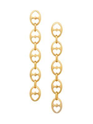 Goldplated Duo Heart Link Linear Earrings