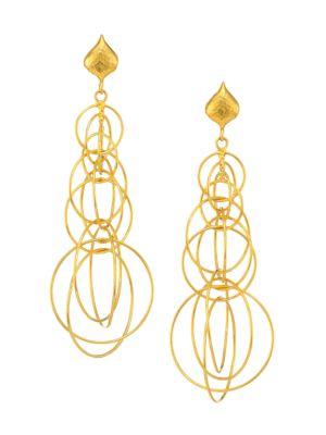 Geo 22K Yellow Gold Multi-Link Drop Earrings