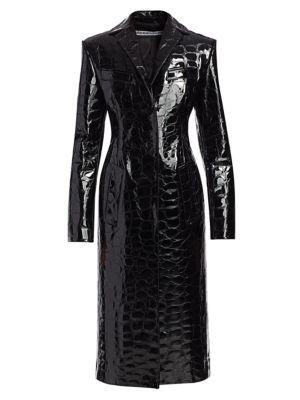 Snakeskin-Embossed Leather Long Coat