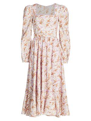 Ella Floral Belted Midi Dress
