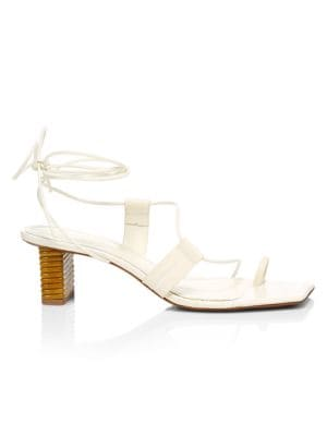 Violete Ankle-Wrap Square-Toe Croc-Embossed Leather Sandals