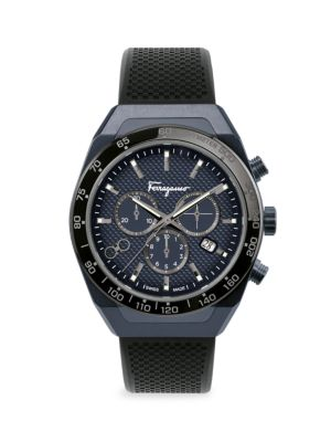 SLX Blue-Black IP & Rubber Strap Chronograph Watch