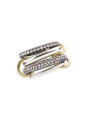 Vega 18K Yellow Gold, Sterling Silver & Diamond 4-Link Ring