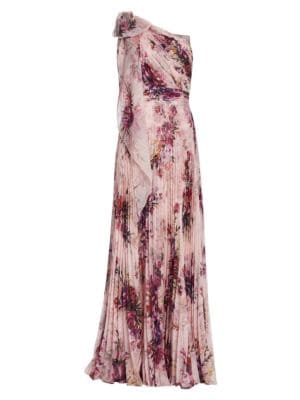 Floral Asymmetrical Pleated Gown