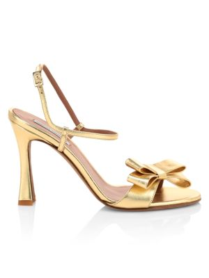 Annie Bow Metallic Leather Sandals
