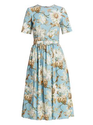 Floral Poplin Pleat A-Line Dress