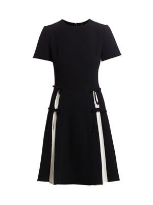 Chiffon Pleated Bow Insert Dress