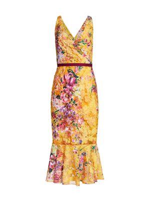 Soutache Floral Mid-Length Dress