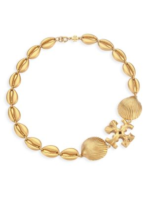 Goldtone Logo & Seashell Statement Necklace