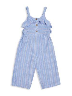 Little Girl's Striped Tie Jumpsuit