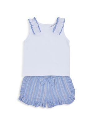Little Girl's 2-Piece Ruffle Stripe Shorts & Tank Top Set