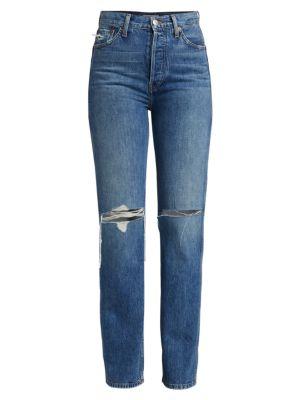 High-Rise Distressed Loose Slim Jeans