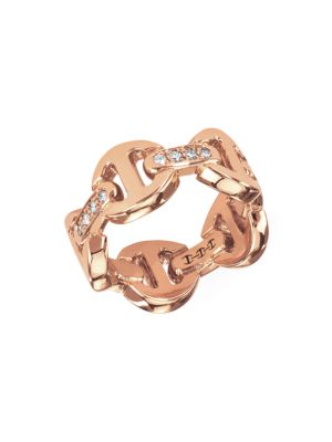 Dame Tri-Link 18K Rose Gold & Diamond Ring
