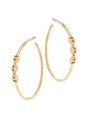 Tri-Link 18K Yellow Gold & Diamond Mini Hoop Earrings
