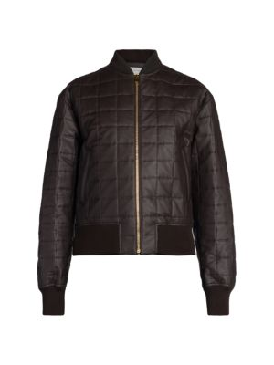 Quilted Leather & Silk Bomber Jacket