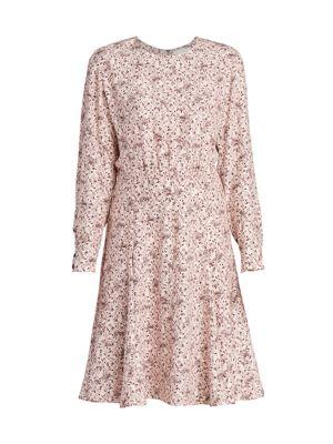 Bird-Print Silk Crepe Dress
