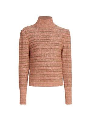 Stripe Lurex Funnelneck Sweater