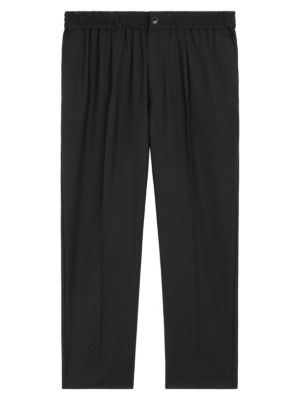 Elasticized-Waist Cropped Trousers