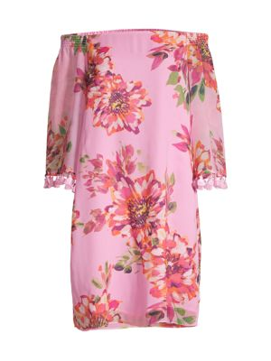 Amaris Off-The-Shoulder Silk Dress