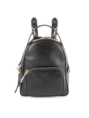 Logo Chain Leather Backpack