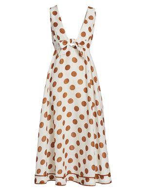 Empire Tie-Front Polka Dot Midi Dress