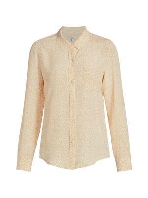 Kate Leopard Silk Button-Down Blouse