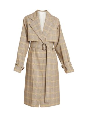 Plaid Wool Trench Coat