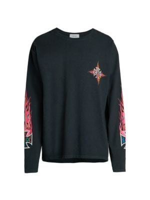Long-Sleeve Neon Flame Graphic T-Shirt