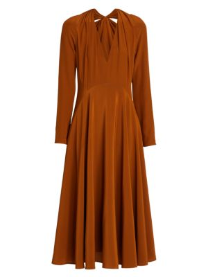 Bow-Back Silk Flare Dress