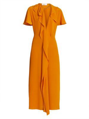 Ruffle Chain Silk Midi Dress