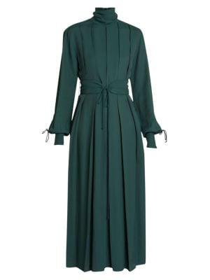 Pleated Mockneck Midi Dress