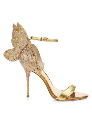 Chiara Butterfly Embellished Glitter & Metallic Leather Sandals
