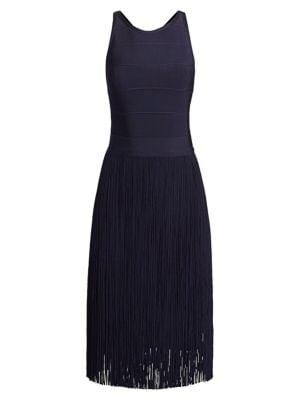 Fringe Skirt Cross-Back Cocktail Dress