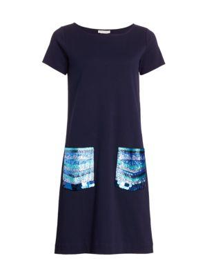 Sequin Pocket Shift Dress