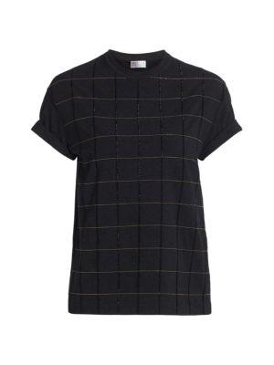 Monili Windowpane Crewneck T-Shirt