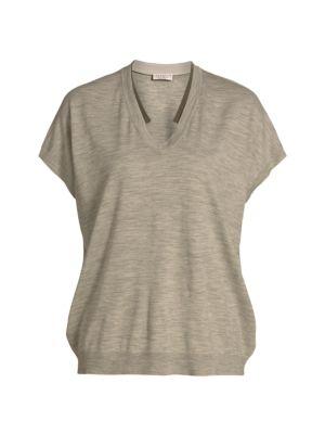 Wool & Cashmere Short-Sleeve Monili Knit T-Shirt
