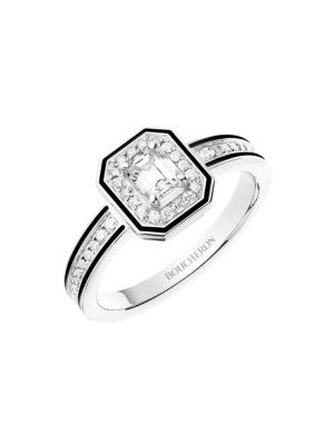 Vendôme Liseré 18K White Gold, Diamond & Black Lacquer Ring
