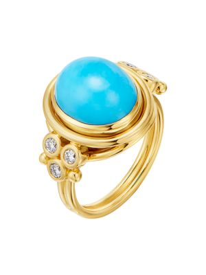 CL 18K Yellow Gold, Turquoise & Diamond Classic Ring