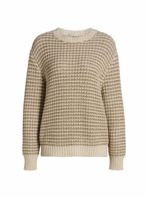 Lurex Striped Wool & Cashmere-Blend Sweater
