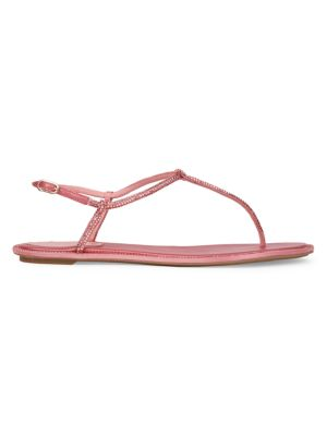 Diana Crystal-Embellished Satin T-Strap Sandals