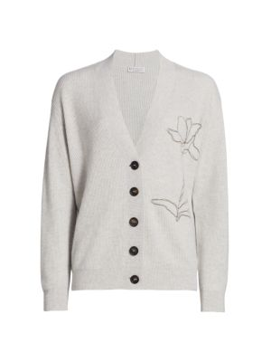 Floral Embroidered Cashmere Ribbed Cardigan