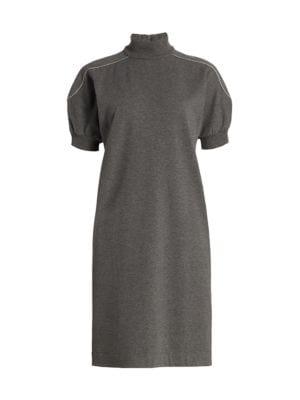 Monili Short-Sleeve Turtleneck Knit Dress