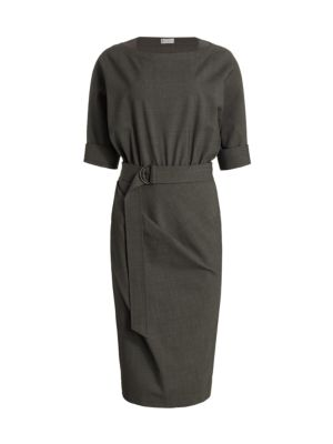 Belted Cuffed Stretch-Wool Midi Dress