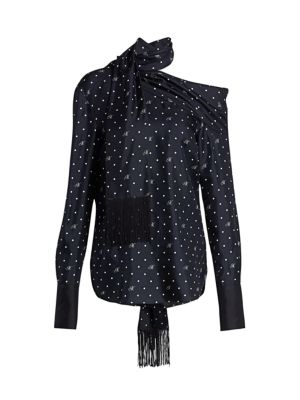 Dotted Draped Scarf Blouse