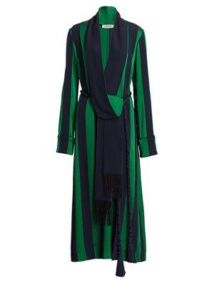 Striped Robe Midi Dress