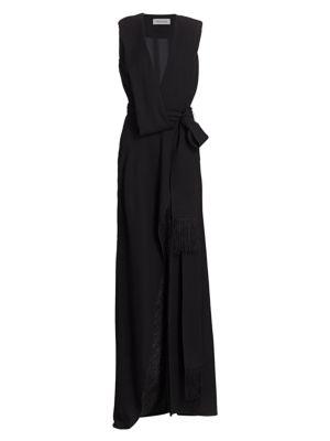 Deep V-Neck Power Shoulder Slit Wrap Gown